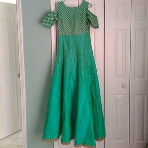 Dresses & Skirts - Floor Length Cold Shoulder Indian Lengha Gown